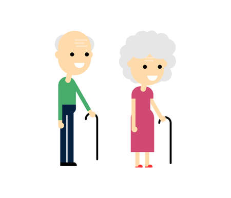 Happy Old woman and old man. Aged people. Grandfather And Grandmother Isolated on white background. Vector Illustration.