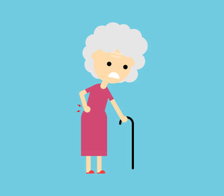 old woman suffering from back pain Isolated on blue background. Vector Illustration. Illusztráció