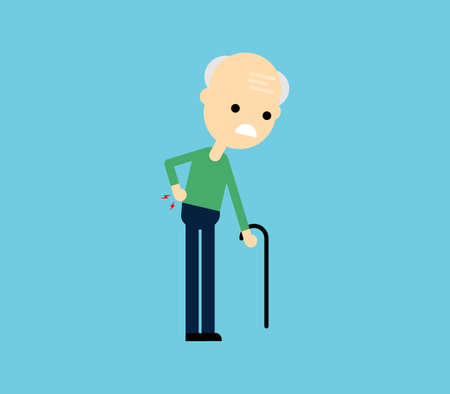 Old man suffering from back pain Isolated on blue background. Vector Illustration. Illusztráció