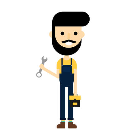 happy Repairman with toolbox. Worker customer service isolated on white background. cartoon character. vector illustration.