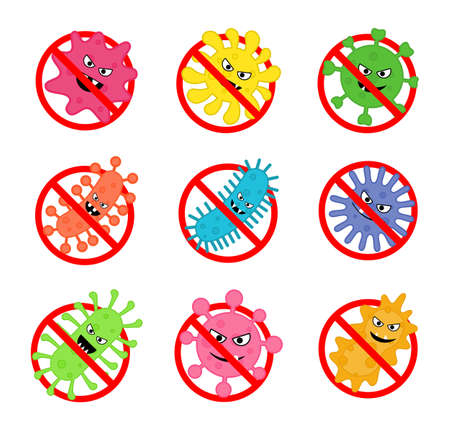 set of antibacterial sign. no bacteria icon Isolated on white background. vector Illustration. Illustration