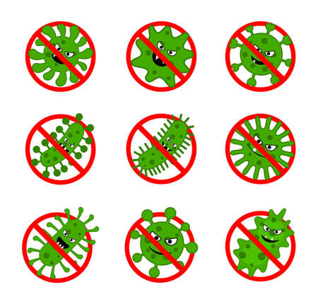 set of Antibacterial sign. no bacteria icon Isolated on white background. Vector Illustration.