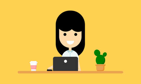 Happy Businesswoman is sitting working at the table with a laptop. Business concept. funny cartoon character isolated on yellow background. vector illustration.