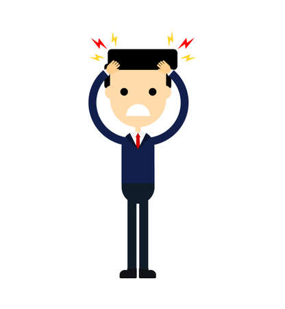 businessman with a headache. stress work. migraine. funny cartoon character isolated on white background. vector illustration.