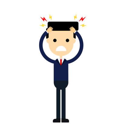Geschäftsmann mit Kopfschmerzen. Stress arbeiten. Migräne. lustige Zeichentrickfigur isoliert auf weißem Hintergrund. Vektor-Illustration.