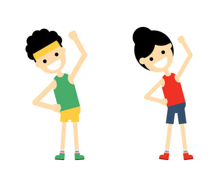 man and woman fitness exercise Isolated on white background. Vector Illustration. Illustration
