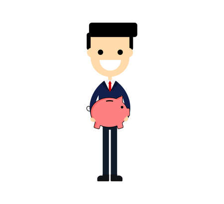 happy businessmen holding pig piggy bank. saving concept isolated on white background. vector illustration.
