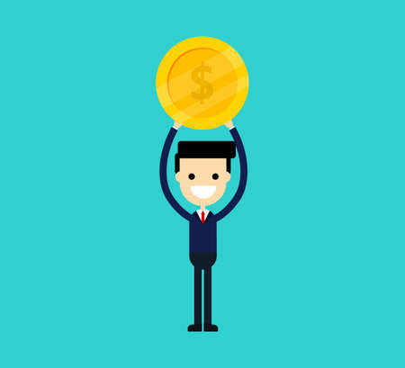 happy businessman carries coins money isolated on blue background. vector illustration. Standard-Bild - 134717003