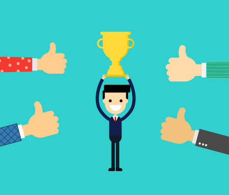 people like and give thumbs up to young businessman is holding a golden cup. isolated on blue background. vector illustration.