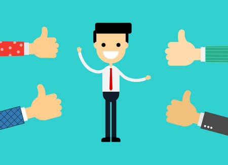people like and give thumbs up to young businessman. isolated on blue background. vector illustration.