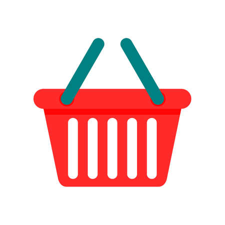 red shopping basket isolated on white background. vector Illustration.