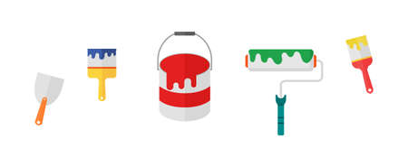 painting supplies icons. color bucket and roller brush isolated on white background. vector Illustration.
