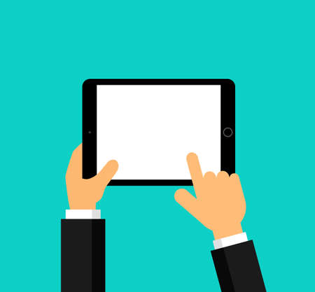 businessman hand is holding a realistic black tablet display Isolated on blue background. Vector Illustration. Illustration