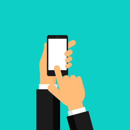 businessman hand is holding a realistic black smartphone display Isolated on blue background. Vector Illustration.