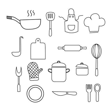 Cooking Foods and Kitchen outline icons set on white background. Vector illustration.