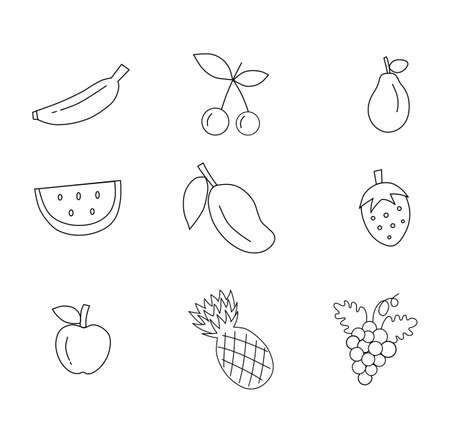 Set of outline fruit icons isolated on white background. Vector illustration. Ilustracja