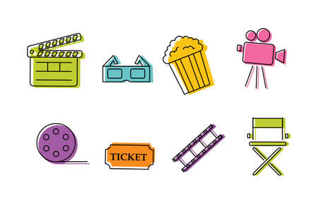 Cinema colorful icons. Signs and symbols collection icon for websites.