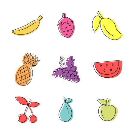 Set of outline fruit colorful icons isolated on white background. Vector illustration.