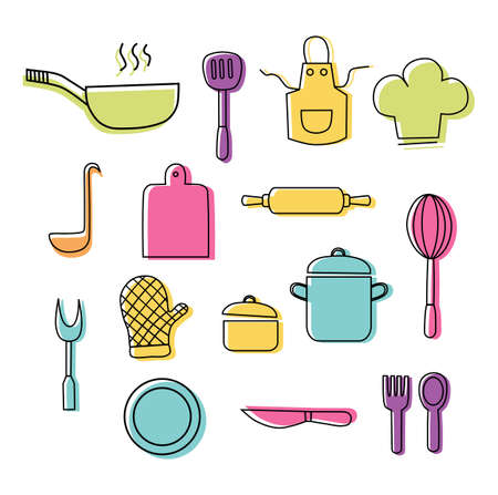 Cooking Foods and Kitchen outline colorful icons set on white background. Vector illustration.