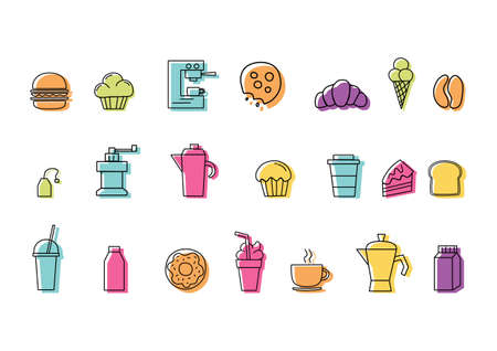 Set of linear colorful icons for coffee shop with White Background Ilustracja