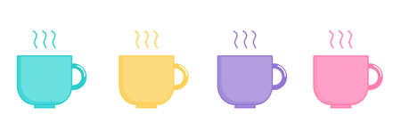 kawaii Cute Pastel set Cute Coffee and Tea Cup cartoon with different types isolated on White Background for cafe or restaurant. illustration Vector. Ilustracja