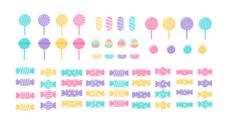 kawaii Cute Pastel Set of candy sweets desserts with different types isolated on White Background for cafe or restaurant. illustration Vector.
