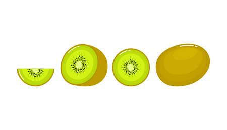 set Kiwi. Summer fruits for healthy lifestyle isolated on white background of vector illustrations. Fresh cartoon. Ilustracja
