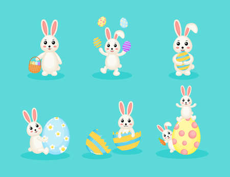 Collection of Happy Easter bunny and egg. cute rabbits Isolated on blue background. set icons. Vector illustration. Vektoros illusztráció