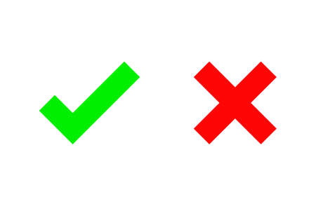 Check marks icons. accept and reject. right and wrong. Isolated on white background. Vector Illustration.