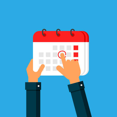 businessman hand holding a calendar and finger pointing into calendar Isolated on blue background. Vector Illustration.