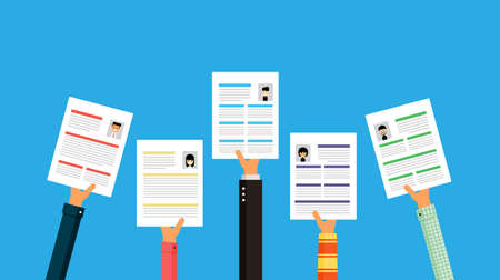 hands holding a cv resume documents. searching professional staff Isolated on blue background. Vector Illustration.