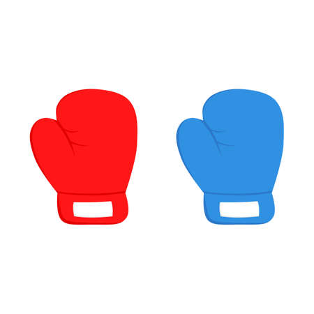 fight icon. boxing gloves red and blue isolated on white background. vector Illustration. Archivio Fotografico - 134751326