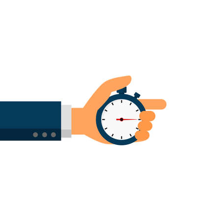 stopwatch in businessmen hands isolated on white background. vector Illustration. Çizim