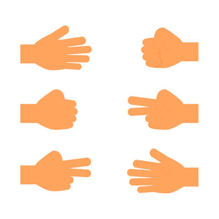 rock paper scissors. hand sign icons set isolated on white background. vector Illustration. Stok Fotoğraf - 134751545