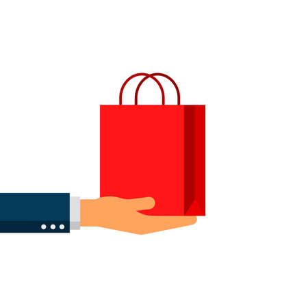 businessman hands holding a red shopping bag isolated on white background. vector Illustration. Illustration