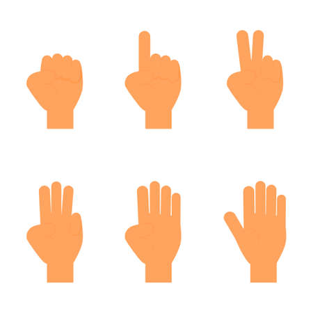 set of counting fingers 1-5. hands sign icon. isolated on white background. vector Illustration. Çizim