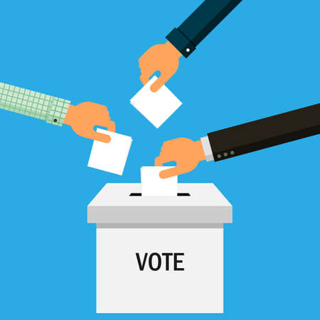hands puts vote ballot in box Isolated on blue background. Vector Illustration. Ilustração