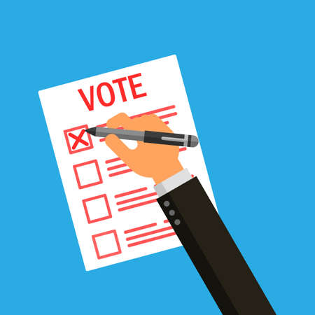 businessman hand holding a pen write vote on elections Isolated on blue background. Vector Illustration.