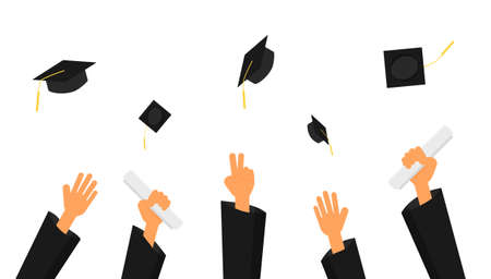 graduation ceremony. hands in gown graduation and caps in the air isolated on white background. vector Illustration.