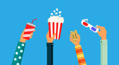 hand holding popcorn, ticket, 3d glasses and soda Isolated on blue background. Vector Illustration 向量圖像