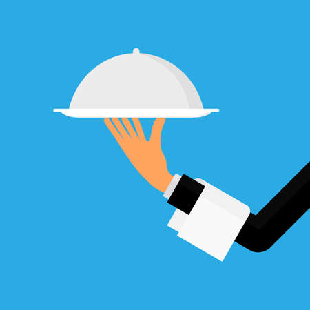 waiter hand holding a  restaurant cloche. food serving tray isolated on blue background vector illustration