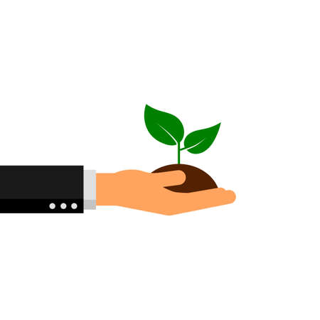 businessmen hand holding a green sapling. ecology concept isolated on white background. vector Illustration.