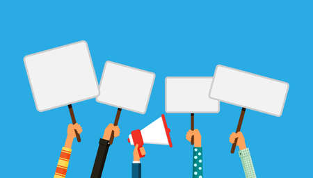 hands holding protest banners and megaphone. crowd of people protesters isolated on blue background vector illustration. Ilustrace
