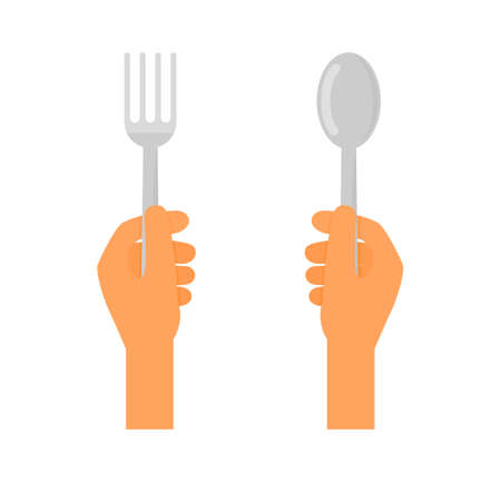 hand holding stainless fork and spoon. restaurant symbol isolated on white background. vector Illustration.