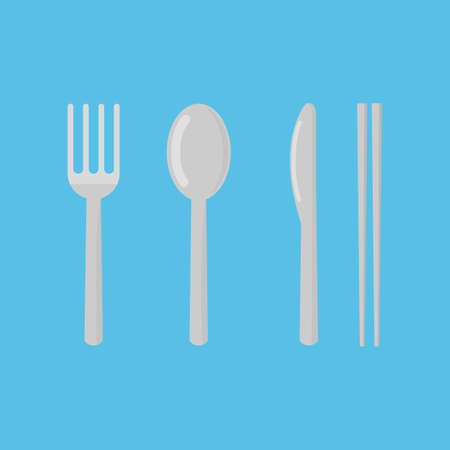 set of fork, spoon, knife and chopsticks. restaurant icon isolated on blue background vector illustration. Ilustrace