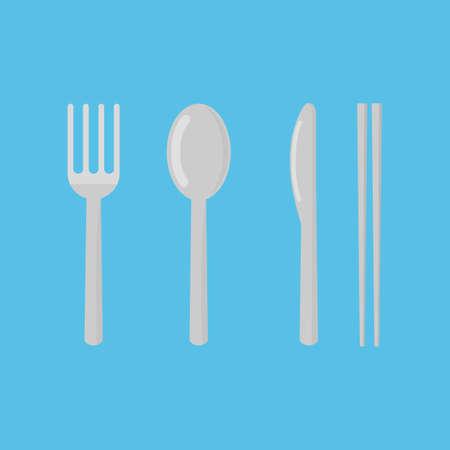 set of fork, spoon, knife and chopsticks. restaurant icon isolated on blue background vector illustration. Illusztráció