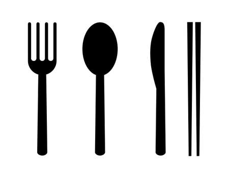 set of fork, spoon, knife and chopsticks. restaurant icons. isolated on white background vector illustration.