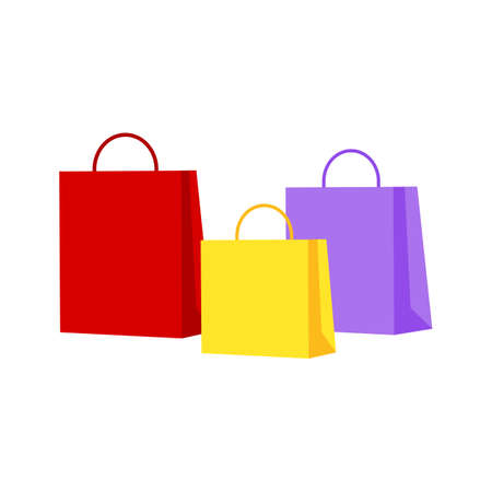 colorful shopping paper bags isolated on white background. vector Illustration.