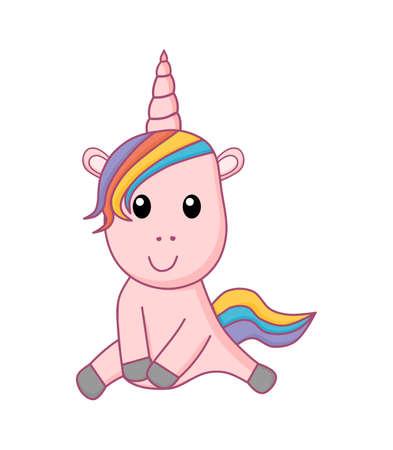 Cute magical unicorn. Magic cartoon fantasy cute animal. Isolated on white background. Vector Illustration. Ilustrace