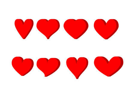 3D Red hearts icons set Isolated on white background. Vector Illustration.